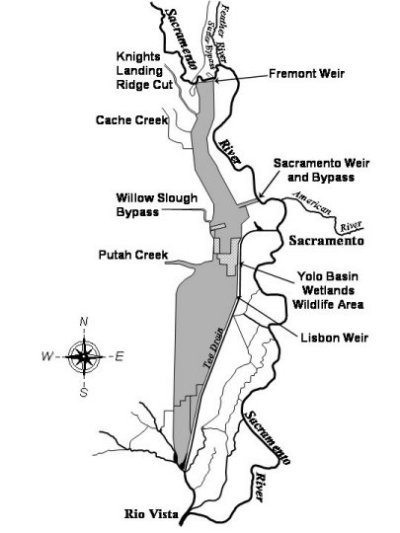 Map of Yolo Bypass. Fremont Weir on northern end of the floodplain.
