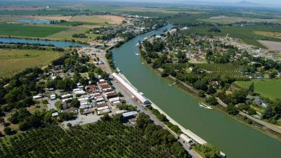 Aerial view of Locke and Walnut Grove on the Sacramento River
